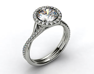 14k White Gold Pave Halo and Twisted Shank Solitaire
